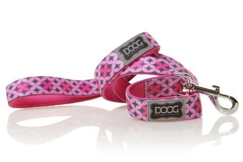 Поводок DOOG Toto, розовый с узором, 130см (LEADPBS)