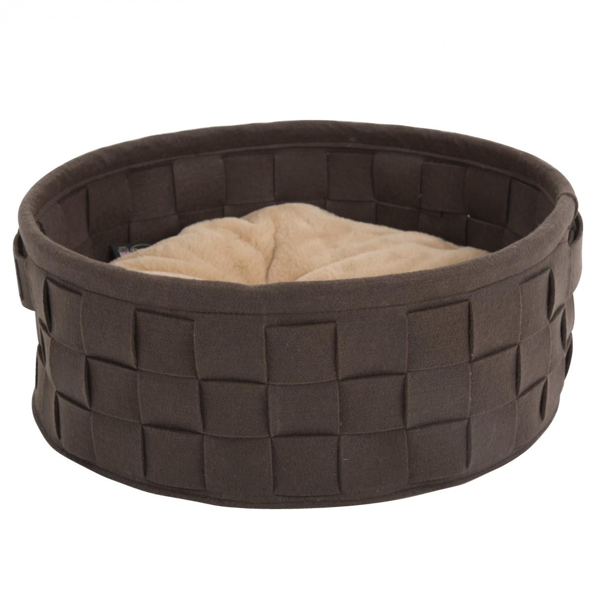 """Лежак круглый для кошек и собак """"Habitat"""" SCRUFFS, плетенка войлок, шоколад"""