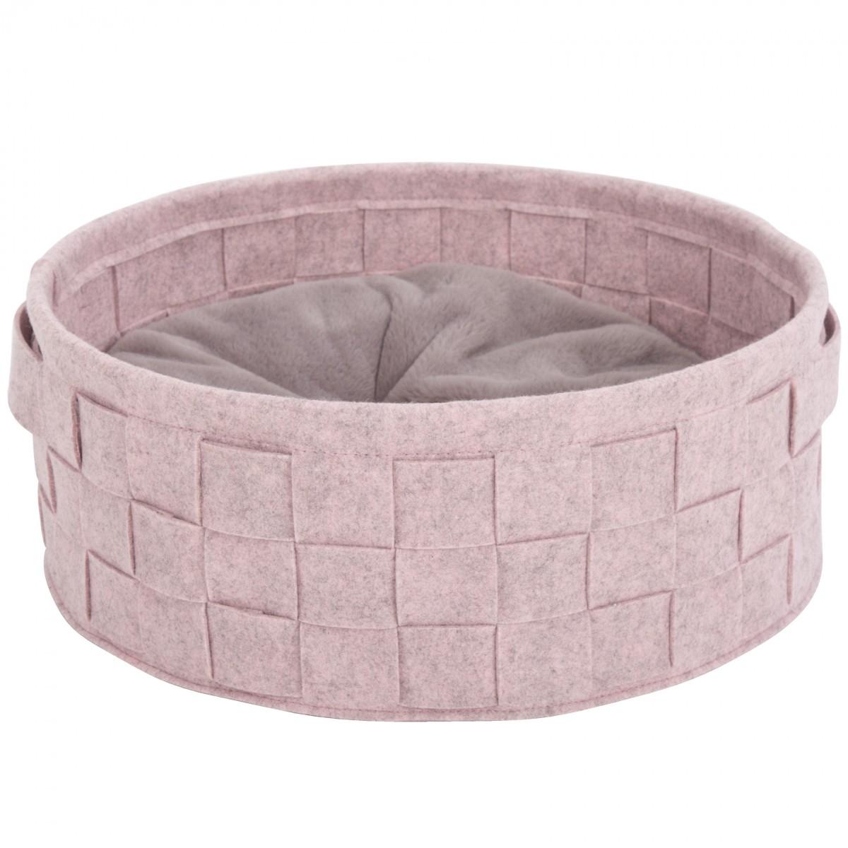 """Лежак круглый для кошек и собак """"Habitat"""" SCRUFFS, плетенка войлок, розовый"""