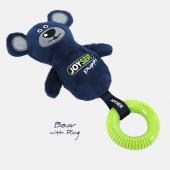 Игрушка для собак JOYSER Puppy Мишка с резиновым кольцом и пищалкой S/M синий, 21 см (7034J)