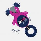Игрушка для собак JOYSER Puppy Белка с резиновым кольцом и пищалкой S/M розовая, 21 см (7037J)