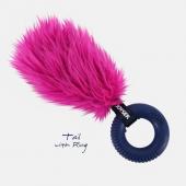 Хвост с резиновым кольцом с пищалкой S розовый, 20 см (7044J)
