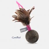 Игрушка для кошек JOYSER Catnip Ball Мячик из спрессованной кошачьей мяты с перьями розовый, 13 см (7047)