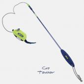 Игрушка для кошек JOYSER Cat Teaser Дразнилка на стеке Мышка со звуковым чипом зеленая, 56 см (7062)