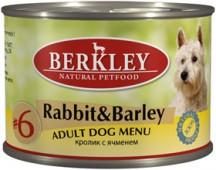 """Консервы для собак №6 """"Кролик с ячменем"""" (Adult Rabbit&Barley)"""