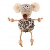 Игрушка для кошек GIGWI Мышка с плетеным мячиком и колокольчиком (75521)