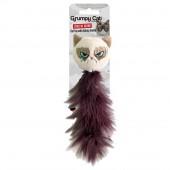 """Игрушка для кошек мягкая ROSEWOOD """"Сердитый кот с хвостом из перьев """", бежевый"""