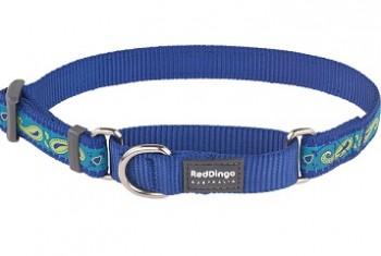 Ошейник-полуудавка синий  Paisley 25мм*41-62см