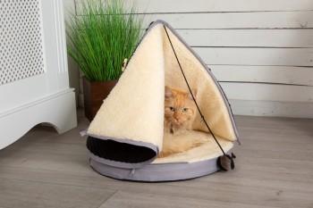 """Лежак для кошек закрытый """"Юрта"""" TRAMPS, черный"""