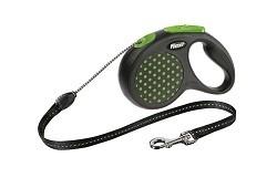 Рулетка-трос FLEXI DESIGN M для собак весом до 20 кг, 5 м, зеленая с чёрным